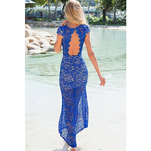 PU&PU Femmes Casual / Sortie Blue Lace V Neck manches courtes Hollow Out Maxi robe, Open Back blue