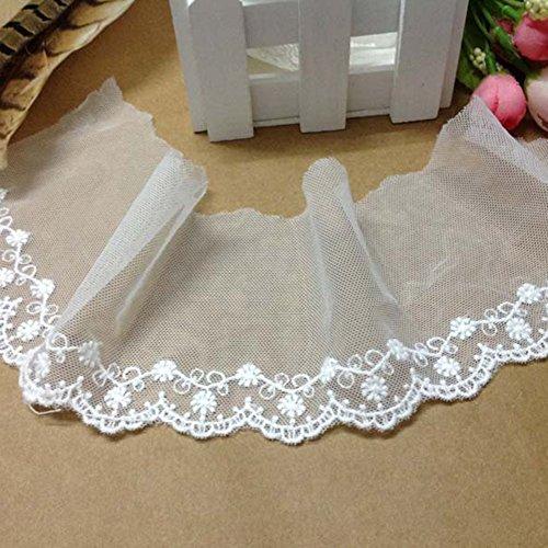 Ivory Elfenbein 7,6cm breit Blumen Bestickter Mesh Spitze Kleid Kopfschmuck Dekoration Halsband Shirt von 3Meter