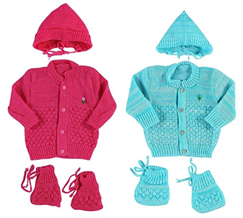 EIO™ SIZE 0 New Born Baby Woollen Knitted Baby Set (3Pcs Suit) (Pack of 2)