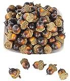 50pcs simulación realista Artificial frutas nutty-brown bellotas para Fall Table Scatter Crafting, dibujo, decoración de hogar casa cocina y Otoño