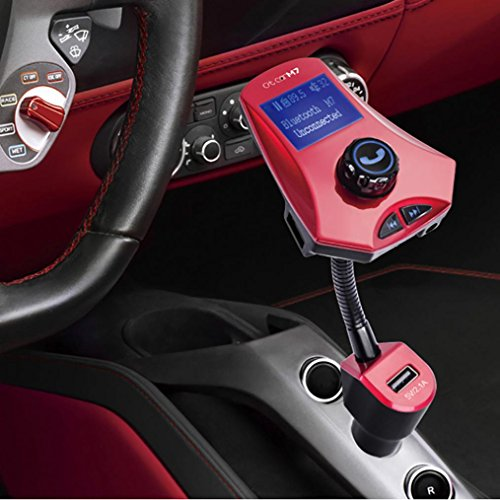 Xshuai 4 Loop-Modi Bluetooth Car Kit MP3-Player FM-Stereo-System Transmitter Wireless Radio Adapter USB-Ladegerät für iPod / iPhone, iPad und andere mobile Geräte (Rot) -