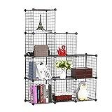 BASTUO Steckregal aus Drahtgitter DIY 9 Kubus Regalwürfel Bücherregal Aufbewahrung Schrank für Bücher, Kleidung, Spielzeug und Schuhe,Schwarz(110 x 37 x 110cm)