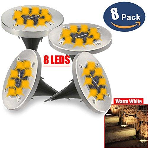 (8 Pack) 8 LED Solar Power begraben Lampe/Licht, Boden Lampe, wasserdichte Outdoor Pfad Licht, Hof Garten Rasen Landschaft Decking Solar Lampe (Warmes Weiß) -