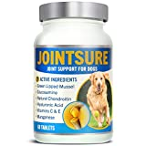 JOINTSURE Joint supplements for dogs | 60 Tablets | With Green Lipped Mussel, Glucosamine & Natural Chondroitin for dog joint care. Aids stiff joints, supports joint structure & maintains mobility.