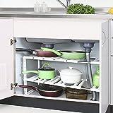 Estante bajo fregadero,Tribesigns 2 Estanterías Acero Inoxidable y Plástico, fácil de instalar y estantes multiusos de almacenaje regulable para baño y cocina