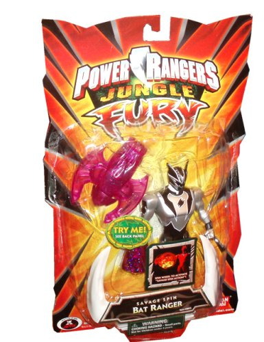 Power Rangers Jungle Fury 6 Inch Tall Action Figure - Savage Spin Bat Ranger with Spinning Action