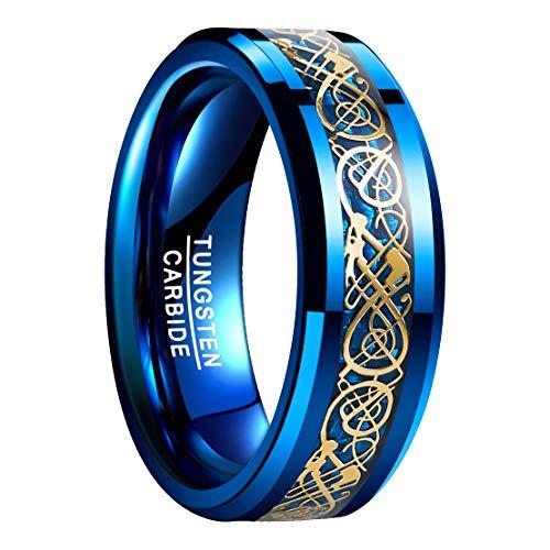 NUNCAD Ring Wolfram Herren/Damen 8mm breit, blau keltische Drachen mit Kohlefasern für Hochzeit, Verlobung, Trauung und Geburtstag, Größe 49(9) (Fashion Damen Ringe Größe 9)