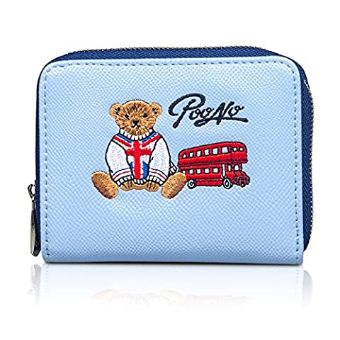 Fency Women's Cute Bear Embroidered Small Wallet Faux Leather Zip Around Purse (Blue)