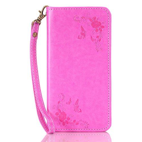 iPhone 6S Hülle,iPhone 6 Hülle,SainCat Apple iPhone 6/6S (4,7 Zoll) Leder Wallet Tasche Handyhülle [Diagonal Rose Muster] Ledertasche Brieftasche im BookStyle PU Leder Hülle Wallet Case Folio Rose Gol Diagonal Rose-Rose Red