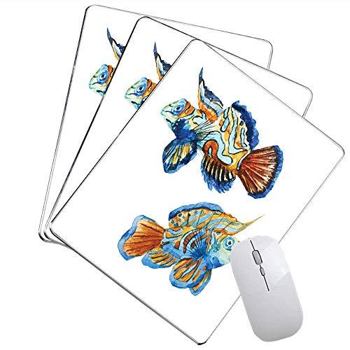 Hand gezeichnete Paare bunter Goldfisch, der Verschiedene Richtung-Aquarell-Art-Spiel-Mausunterlage Orange Blau schwingt,Gummimatte 11,8