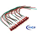 PACK OF 10 YuCo YC-9WRT-23R-120-N-10 RED NEON 9MM MINIATURE INDICATOR PILOT LIGHT 120V AC/DC