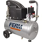FERM CRM1045 Kompressor - 1100W - 1.5 PS - 24 Liter - Öl - Max. 8 Bar - Inkl. 1/4 Inch universale Abkürzung und 2 Manometern