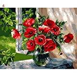 Espeedy Rahmenlose DIY Ölgemälde Durch Zahlen Romantische Vase Blumen Bild Home Decor Zeichnung Auf Leinwand Handgemalte Wandkunst