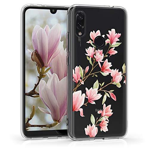 kwmobile Funda para Xiaomi Redmi 7 - Carcasa de TPU para móvil y diseño de Magnolias en Rosa Claro/Blanco/Transparente
