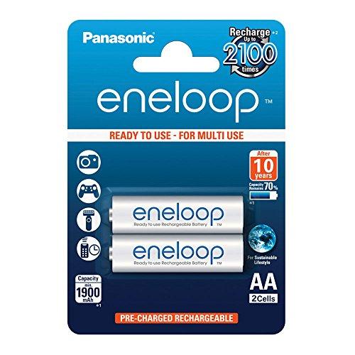 Panasonic eneloop, Ready-to-Use Ni-MH Akku, AA Mignon, 2er Pack, min. 1900 mAh, 2100 Ladezyklen, starke Leistung und geringe Selbstentladung, wiederaufladbare Akku Batterie, Akkubatterie