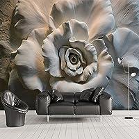LHDLily 3D Tapete 3D Wallpaper Fresken Wandbilder Verdicken Benutzerdefinierte Tapeten Stereo Relief Rose Blumen Abstrakte Kunst Wand Dekor Cafe Restaurant Wohnzimmer Schlafzimmer 3 D 200Cmx150Cm