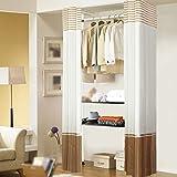 LI JING SHOP - Armoire en tissu simple Ensemble de cadre en acier Armoire Pole Stockage haute capacité ( Couleur : Stripe )