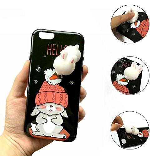 Coque iPhone7,Aliyao iPhone case Étui en plastique squishy 3D Squishy avec Soft Silicon Cute Animal Squeeze Stress Reliever Phone Cover pour iPhone 6/6S Plus,iPhone7/7Plus (iPhone7, chat 5) lapin 2