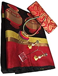 Clickedia Women's Cotton Saree With Blouse Piece (Tusser Black Red Saree_Black Red)