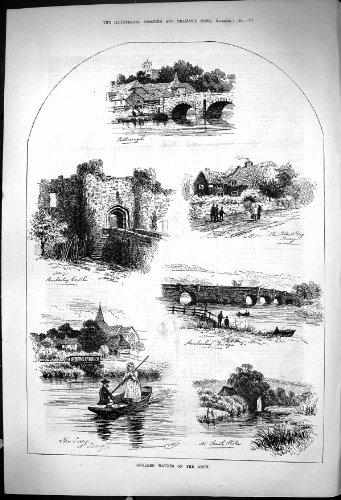 una-stampa-antica-di-1881-pescatore-frequenta-il-castello-bri-di-amberley-del-cane-nero-del-fiume-di