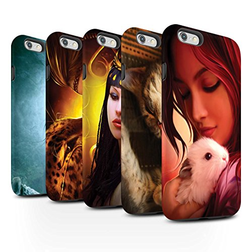 Officiel Elena Dudina Coque / Matte Robuste Antichoc Etui pour Apple iPhone 6+/Plus 5.5 / Félins/Léopard/Guerrier Design / Les Animaux Collection Pack 16pcs