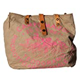 Campomaggi Damen Shopper Canvas Beige Leder Schultertasche One Size