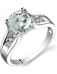 Revoni 14ct oro blanco verde amatista y diamante anillo de Catedral de 1,75quilates