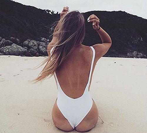 Himoya Damen Deep V Neck High Taille Schnitt Strap Beachwear One Piece Backless String Badeanzüge Monokini Badeanzug Weiß