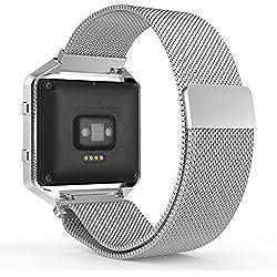 MoKo Fitbit Blaze Correa - Reemplazo SmartWatch Band de Reloj de Acero Inoxidable Milanese Bucle Magnético Hebilla de Cierre Pulsera Accesorios para Fitbit Blaze Smart Fitness Watch, Plata