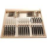 Laguiole - Cubertera de acero inoxidable y plstico ABS en caja de madera, 24 piezas, color negro y plateado