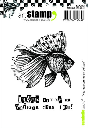 Carabelle Studio SA70102 A7 Cling Stempel - Happy As A Fish, Rubber, White Transparent, 10 x 8 x 0.5 - Gummi-stempel Namen Mit Dem