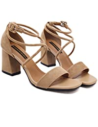 Una hembra de hebilla sandalias sandalias verano con Rude Zapatillas Suede sul Match Zapatos con I tacón, trentotto