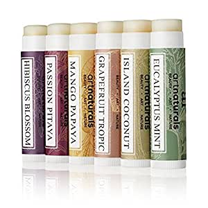 Art Naturals 100% Natural Lip Balm Bees Wax – 6 Pack Assorted Flavors 0.15 oz each – Best Chapstick for Dry, chapped & Cracked Lips – Lip Repair & Therapy with Aloe Vera, Coconut, Castor & Jojoba Oil