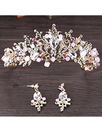 TOOGOO Coronas nupciales de la perla del oro rosado Diadema de la novia de la tiara de la boda hecha a mano Diadema de la boda cristalina Accesorios del pelo de la boda de la corona de la reina