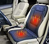 ObboMed SH-4170A 12V 45W Beheizbare Sitzauflage Sitzkissen mit Rückenstützung und sichere Befestigung & Premium Zigarettenanzünderstecker; Schwarz mit Muster Dunkelblau