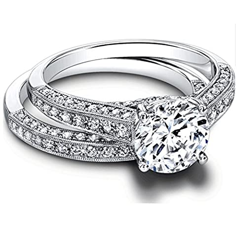 1.35 Ct Band Set Moissanite Diamond Engagement Ring Sterling Silver White Gold Finish Size M N O