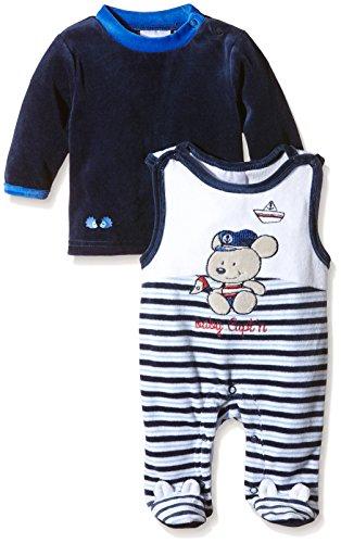 Twins Baby - Jungen Strampler mit Mäuschen-Motiv im Set mit Langarmshirt, Mehrfarbig (Marine/Weiss 260010), 4-5 Monate (Herstellergröße: 62)