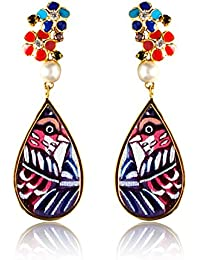 Miranika Gold Plated Drop Earrings for Women (Multi-Colour)(C1D2BSB)