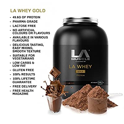LA Muscle LA Whey Gold 100% pure whey protein powder supplement, Mouth Watering Flavours; Award Winning protein, Voted Best Protein by Mens Health Magazine, as seen on TV, 100% natural with no additives, 49g protein per serving-ULTRA LOW IN FAT & SUGAR~ S