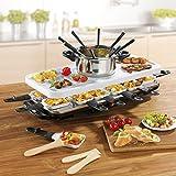 Raclette und Fondue Set (1,600 Watt, Elektro Raclette-Grill, Pfännchen und Raclette Zubehör, Fondue, 12 Personen) (Weiß)