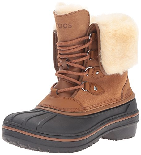 crocs AllCast II Luxe Boot, Damen Schneestiefel, Braun (Wheat 209), 38/39 EU (6 Damen UK)