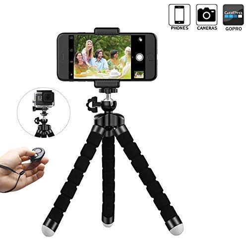 Treppiedi fotocamera flessibile ,treppiedi fotografico da viaggio treppiedi cellulare portatile treppiede telefono leggero universale per smartphone/fotocamera reflex/fotocamera digitale/videocamera come sony canon nikon gopro action cam, manfrotto, iphone x/8/8 plus/7, samsung s9/s9+/s8/s8+, huawei p10/mate10, etc.