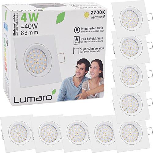Lumaro® Slim Line Einbauspot IP44 mit nur 27mm Einbautiefe! | Deckenspot mit integriertem austauschbarem 4W 400 Lumen LED Leuchtmittel AC 230V 120° Deckenlampe Einbauspot warmweiß (9er weiß/eckig)
