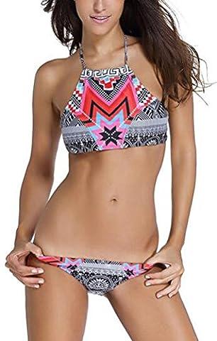 sunifsnow Frauen Ethnische Stil Halfter Geometrische Print Tankini niedrige Taille sexy Bikini Gr. XL, rose