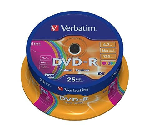 Verbatim DVD-R Rohlinge (16x Speed, 4,7GB, 25-er Spindel) blau/grün/orange/rosa/violett
