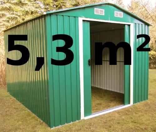 Gartenhaus Geräteschuppen 5,3m² aus verzinktem Stahlblech Metall grün von AS-S