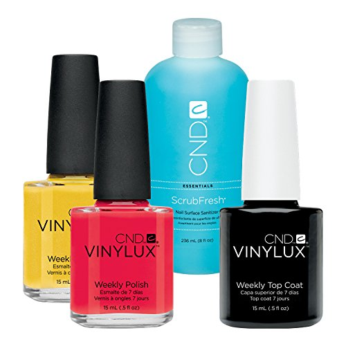 CND Vinylux Lobster Roll plus Bicycle Yellow plus Top Coat 15 ml plus Scrub Fresh 236 ml, 1er Pack (1 x 0.281 l)