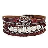 Cheerlife Damen Wickelarmband mit Perlen Strass Flechtelement Lebensbaum Anhänger Magnetverschluss Armband (Rot)