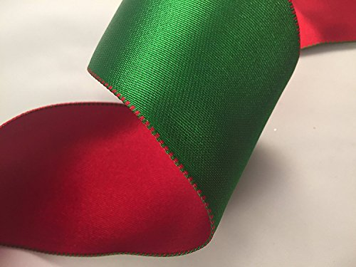 Drahtkante, Weihnachten Band trimmen X 5Meter (rot & grün doppelseitig Satin wendbar 63mm breit) (5m)