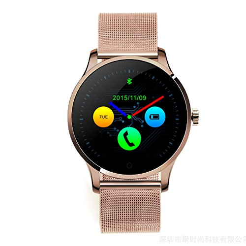 Smart Watch Bluetooth Pulsmesser Bewegungsmelder Schlafmonitor Anti-verlorene finden Fernaufnahme Ultradünne Scheibe Echtzeitschritte Pulsuhr Edelstahlarmband IOS Android Phone K88H (Schwarz, Silber, Gold, Roségold) ( Color : Rose gold )